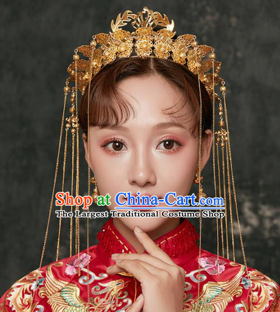 Chinese Ancient Palace Bride Hair Accessories Wedding Golden Phoenix Coronet Hairpins Headwear for Women