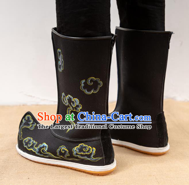 Chinese Traditional Shoes Ancient Swordsman Black Boots Opera Shoes Hanfu Embroidered Shoes for Men