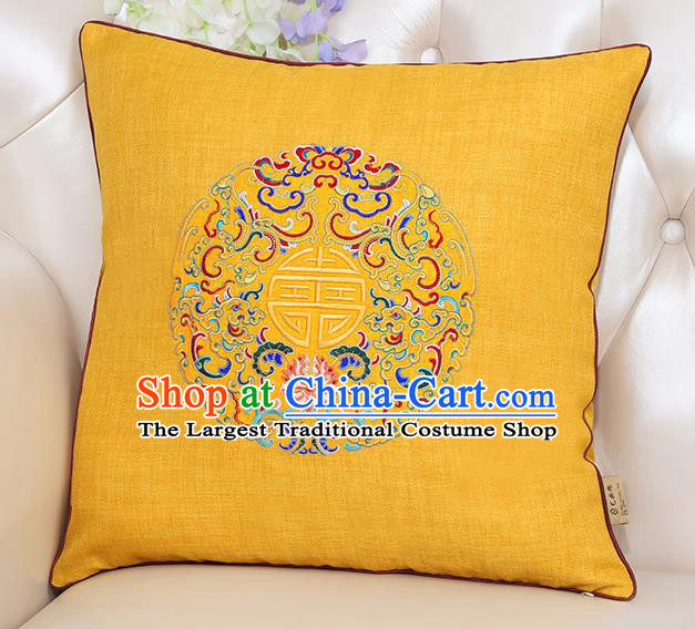 Chinese Classical Household Ornament Traditional Handmade Embroidered Yellow Linen Cushion