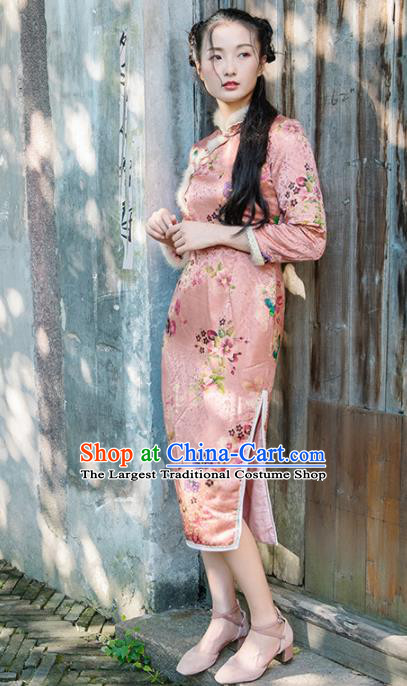 Chinese Traditional Costumes National Pink Silk Qipao Dress Mink Wool Cheongsam for Women