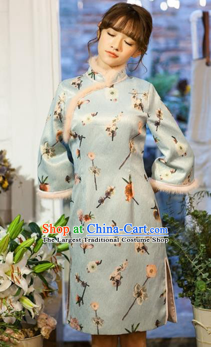 Chinese National Costumes Green Silk Qipao Dress Traditional Tang Suit Winter Cheongsam for Women