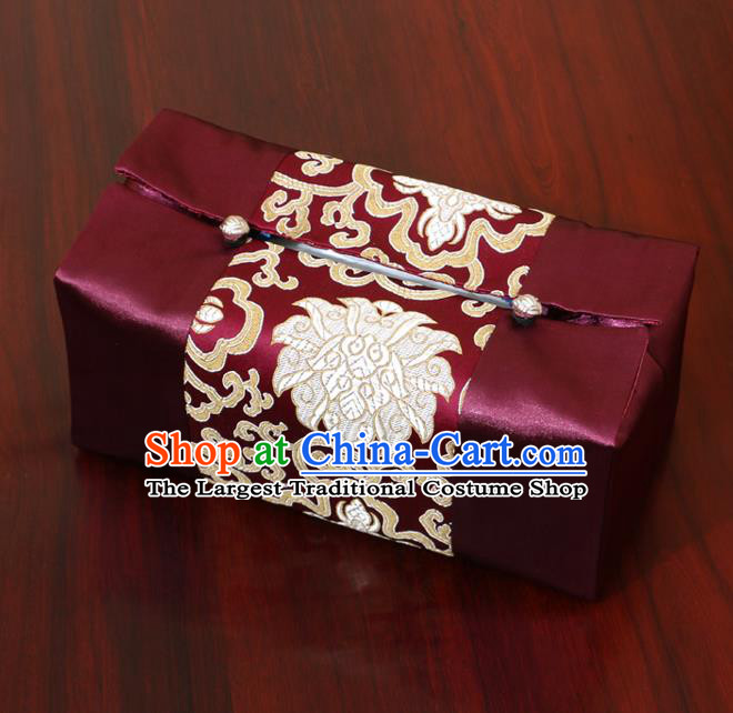 Chinese Traditional Household Accessories Classical Chrysanthemum Pattern Purple Brocade Paper Box Storage Box Cove
