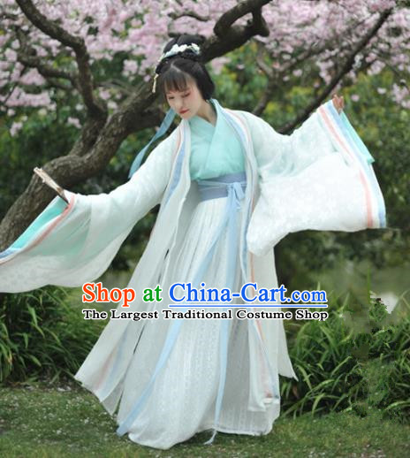 Chinese Traditional Jin Dynasty Palace Princess Historical Costumes Ancient Peri Court Maid Hanfu Dress for Women