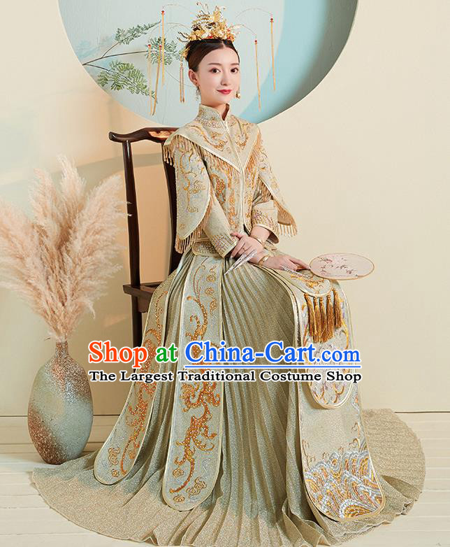 Chinese Traditional Embroidered Green Xiuhe Suits Ancient Bride Toast Wedding Costumes for Women