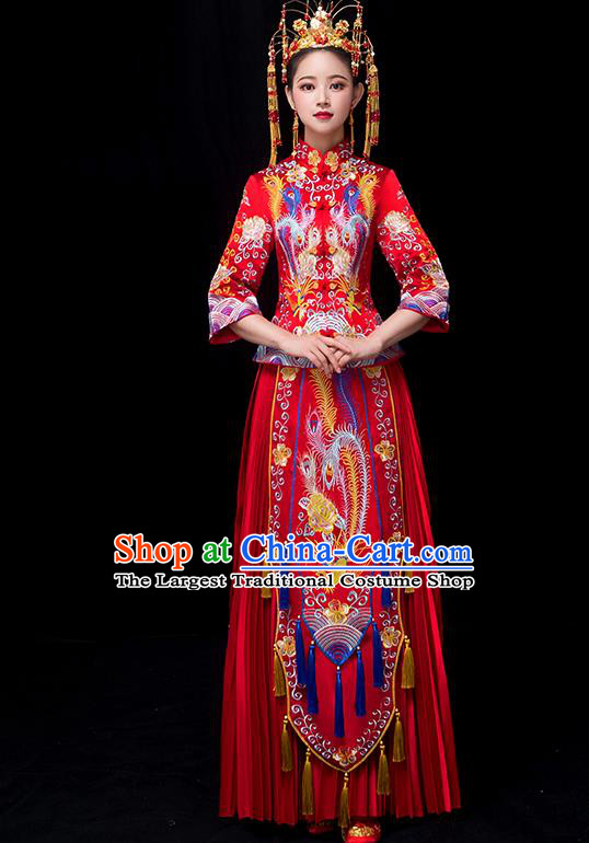Chinese Traditional Bride Xiuhe Suits Ancient Handmade Embroidered Phoenix Red Wedding Costumes for Women