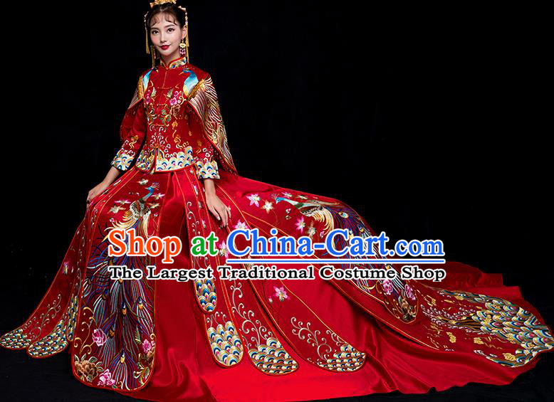 Chinese Traditional Bride Trailing Xiuhe Suits Ancient Handmade Embroidered Phoenix Red Wedding Costumes for Women