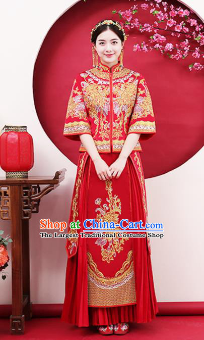 Chinese Traditional Bride Gilding Peony Red Xiuhe Suits Ancient Handmade Wedding Costumes for Women