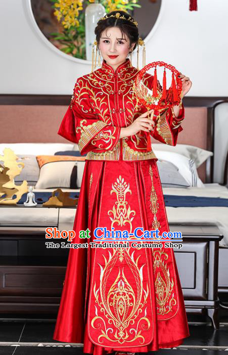 Chinese Traditional Bride Red Xiuhe Suits Ancient Handmade Embroidered Wedding Dresses for Women