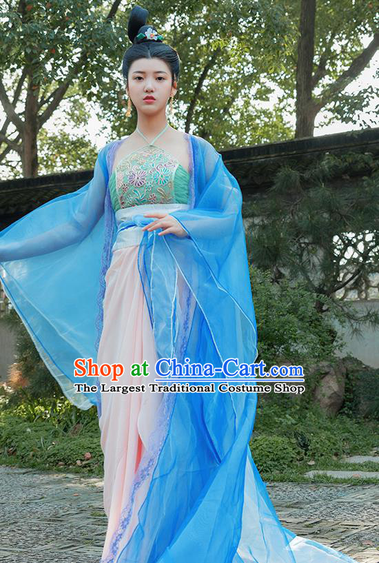 Traditional Chinese Tang Dynasty Palace Dancer Blue Hanfu Dress Ancient Drama Flying Peri Costumes for Women