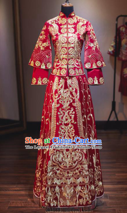Chinese Traditional Embroidered Wedding Dress Cheongsam Ancient Bride Handmade Xiuhe Suits Costumes for Women
