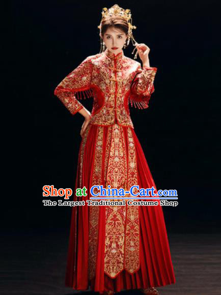Chinese Traditional Wedding Dress Embroidered Cheongsam Ancient Bride Handmade Xiuhe Suits Costumes for Women