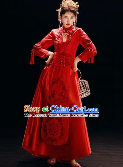 Chinese Traditional Wedding Dress Embroidered Cheongsam Ancient Bride Xiuhe Suits Costumes for Women