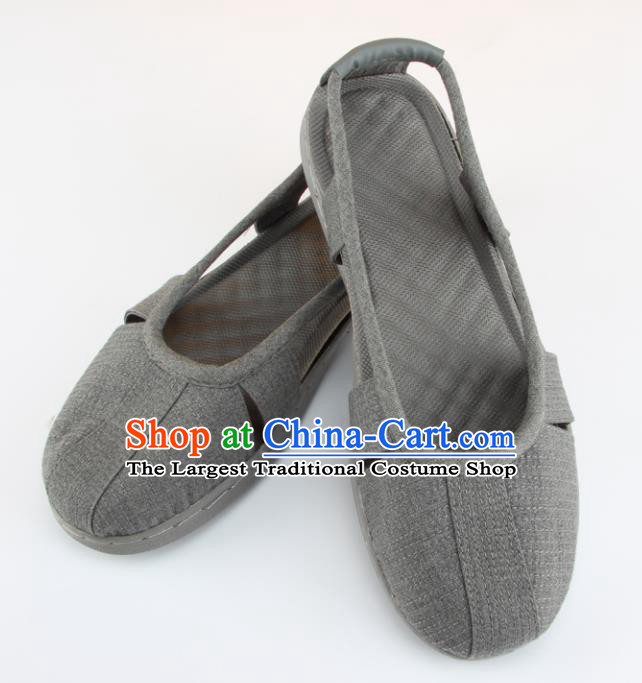 Chinese Traditional Buddhist Monk Shoes Buddhism Arhat Monks Grey Cloth Shoes for Men