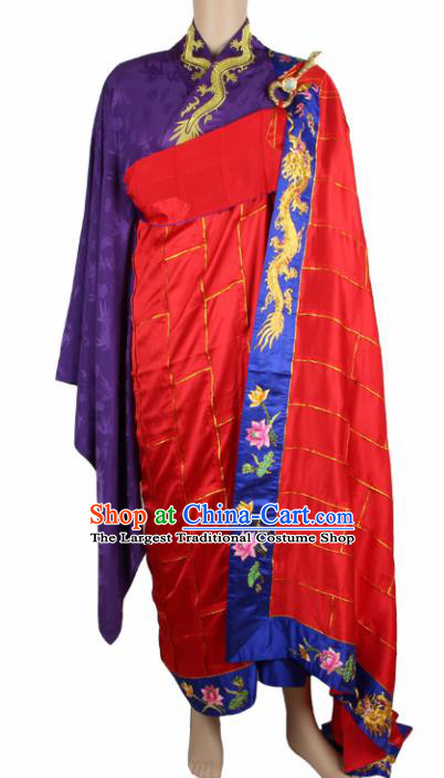 Chinese Traditional Buddhist Monk Clothing Red Silk Cassock Buddhism Monks Costumes for Men