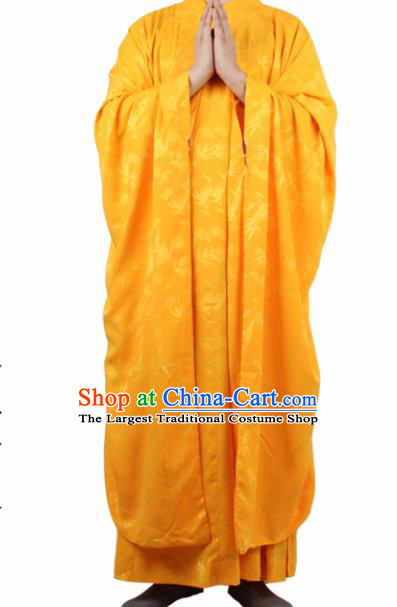 Chinese Traditional Buddhist Yellow Silk Robe Buddhism Dharma Assembly Monks Costumes for Men