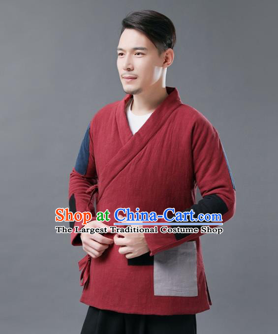 Chinese Traditional Costume Tang Suits Cotton Padded Jacket National Red Mandarin Shirt for Men