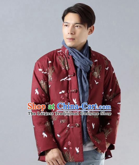 Chinese Traditional Costume Tang Suit Red Cotton Padded Jacket National Mandarin Overcoat for Men