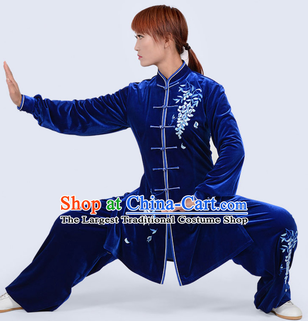Deep Blue Top Winter Wear Velvet Asian Embroidered Tai Chi Clothing Martial Arts Dresses Complete Set for Women