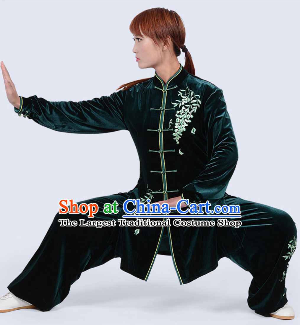 Deep Green Top Winter Wear Velvet Asian Embroidered Tai Chi Clothing Martial Arts Dresses Complete Set for Women