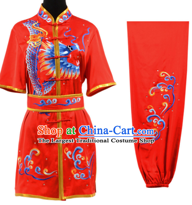 Lucky Red Top Short Sleeves Chinese Embroidered Dragon Tai Chi Outfit Martial Arts Uniforms Complete Set for Men or Women