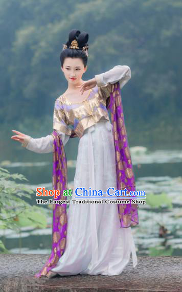 Chinese Traditional Tang Dynasty Princess Historical Costumes Ancient Peri Hanfu Dress for Women