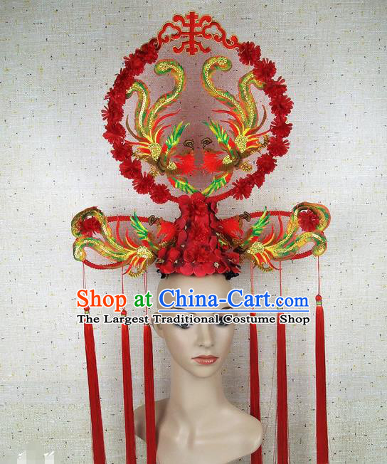 Asian Chinese Traditional Palace Phoenix Hair Accessories Stage Performance Catwalks Exaggerated Headdress for Women
