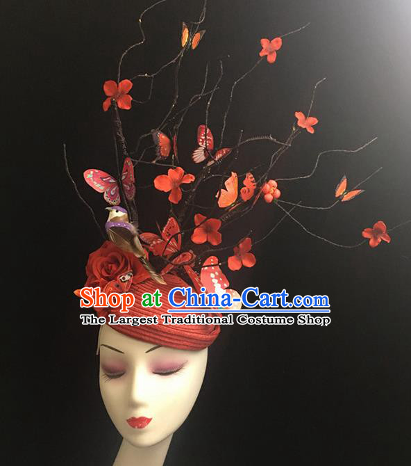 Top Halloween Catwalks Hair Accessories Stage Show Red Giant Top Hat Headdress for Women