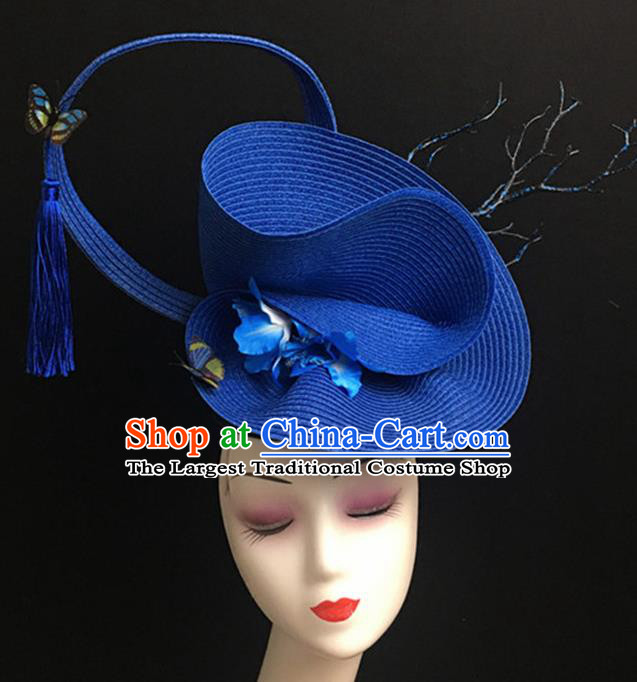 Top Halloween Catwalks Hair Accessories Stage Show Blue Top Hat Headdress for Women