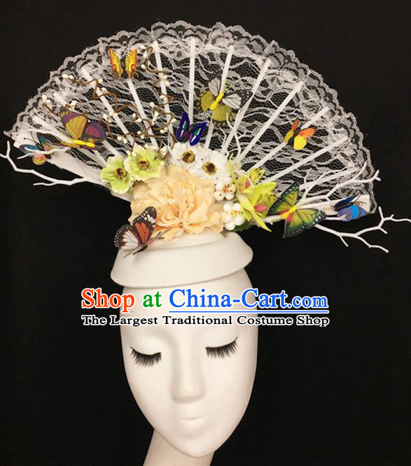 Top Halloween Hair Accessories Stage Show Chinese Traditional Catwalks White Top Hat Headpiece for Women