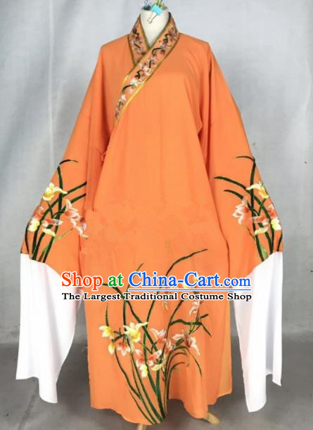Chinese Traditional Beijing Opera Niche Embroidered Orchid Orange Robe Ancient Number One Scholar Costume for Men