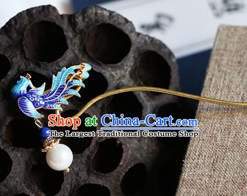 Chinese Ancient Qing Dynasty Imperial Consort Cloisonne Phoenix Hairpins Traditional Hanfu Court Hair Accessories for Women