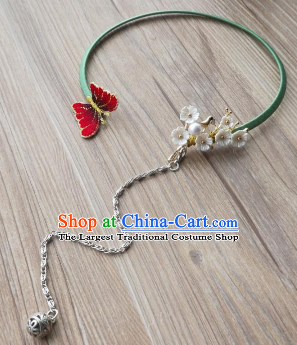 Chinese Traditional Hanfu Court Embroidered Red Butterfly Necklet Accessories Ancient Ming Dynasty Princess Necklace for Women