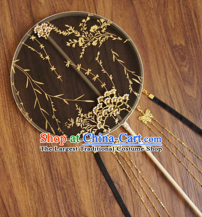 Chinese Traditional Hanfu Butterfly Tassel Black Pine Palace Fans Ancient Princess Silk Round Fan for Women