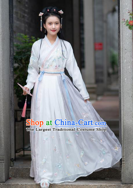 Traditional Chinese Ming Dynasty Rich Lady Replica Costumes Ancient Court White Hanfu Dress for Women