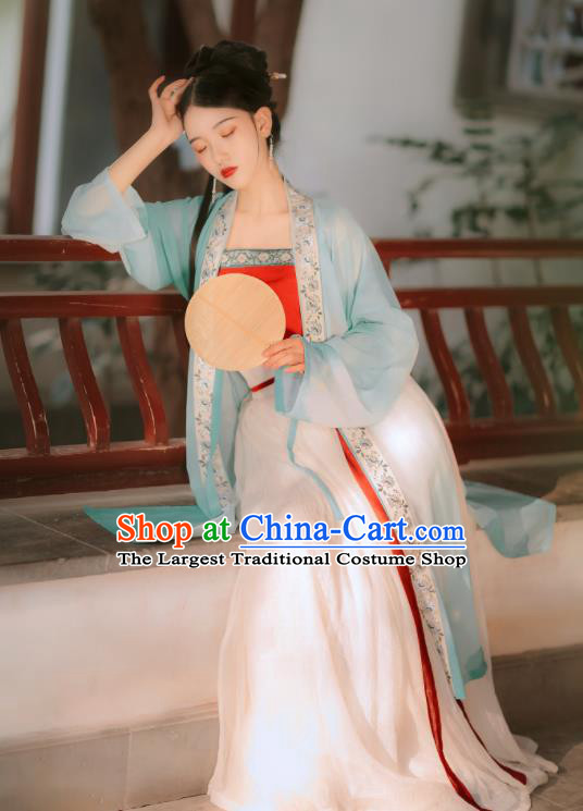 Traditional Chinese Song Dynasty Rich Lady Replica Costumes Ancient Court Princess Green Hanfu Dress for Women