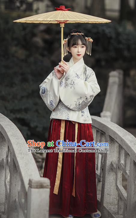 Traditional Chinese Ming Dynasty Aristocratic Lady Replica Costumes Ancient Royal Princess Hanfu Dress for Women