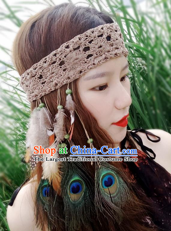 Chinese Traditional Ethnic Wool Knitting Headband National Handmade Feather Hair Clasp for Women