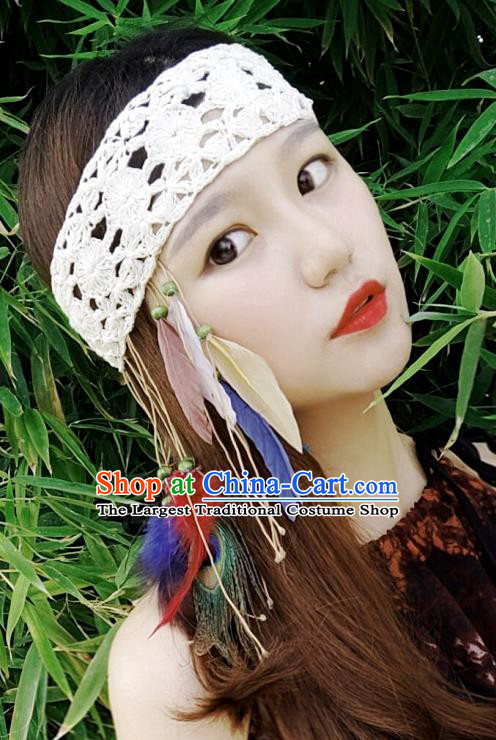 Chinese Traditional Ethnic White Wool Knitting Headband National Handmade Feather Hair Clasp for Women