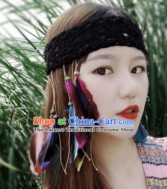 Chinese Traditional Ethnic Black Wool Knitting Headband National Handmade Feather Hair Clasp for Women