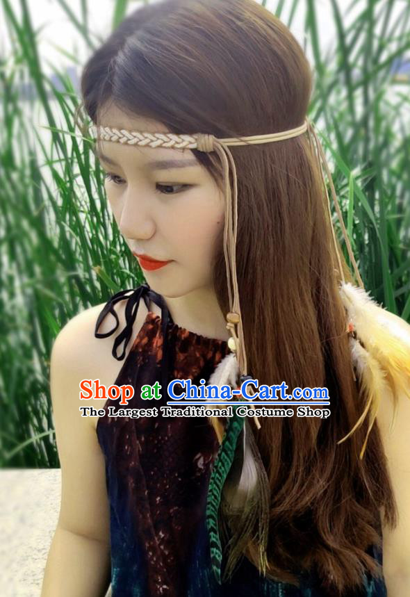 Chinese Traditional Ethnic Leather Knitting Headband National Handmade Feather Hair Clasp for Women