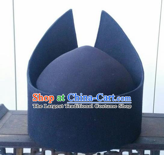 Chinese Traditional Handmade Han Dynasty Prime Minister Black Hat Ancient Drama Chancellor Headwear for Men