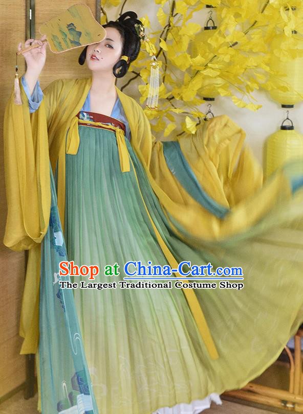 Traditional Chinese Tang Dynasty Imperial Concubine Replica Costumes Ancient Royal Princess Hanfu Dress for Women