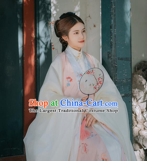 Traditional Chinese Ming Dynasty Imperial Consort Historical Costumes Pink Vest Ancient Palace Lady Hanfu Dress for Women