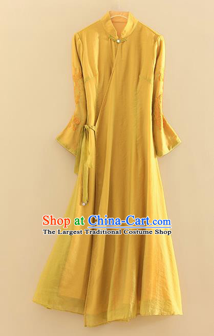 Chinese Traditional Tang Suit Embroidered Yellow Linen Cheongsam National Costume Qipao Dress for Women