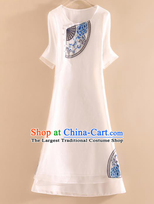 Chinese Traditional Tang Suit Embroidered Peony White Cheongsam National Costume Qipao Dress for Women