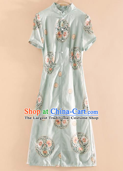 Chinese Traditional Tang Suit Embroidered Light Green Silk Cheongsam National Costume Qipao Dress for Women