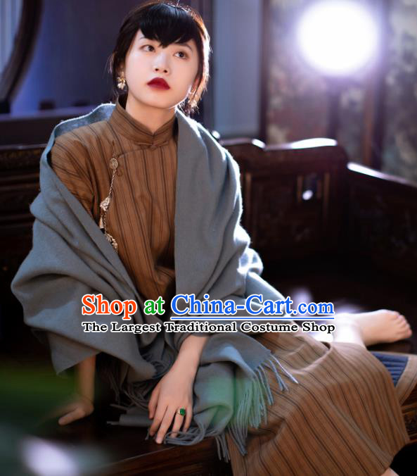 Traditional Chinese National Khaki Silk Qipao Dress Tang Suit Cheongsam Costume for Women