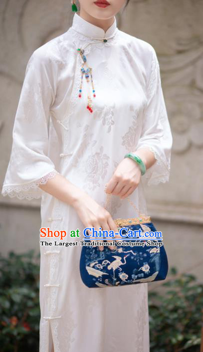 Traditional Chinese National White Silk Qipao Dress Tang Suit Cheongsam Costume for Women