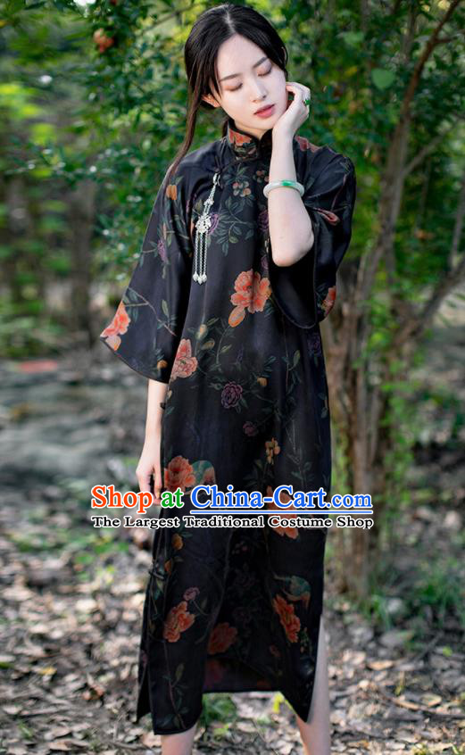 Traditional Chinese National Printing Peony Black Silk Qipao Dress Tang Suit Cheongsam Costume for Women