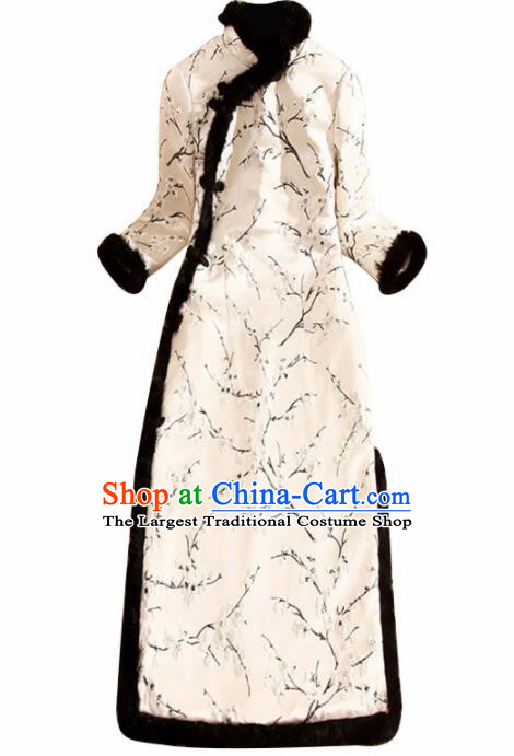 Traditional Chinese National Winter Embroidered Plum White Qipao Dress Tang Suit Cheongsam Costume for Women